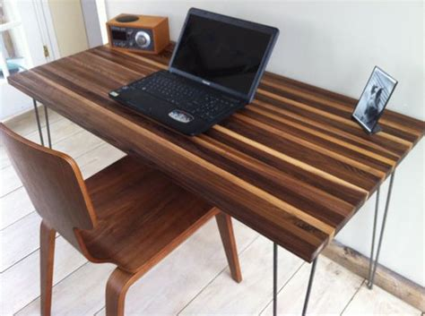 black walnut desk top mid century modern computer desk featuring black walnut