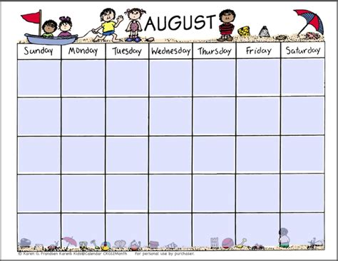 calendar template for children printable calendars for printable calendar