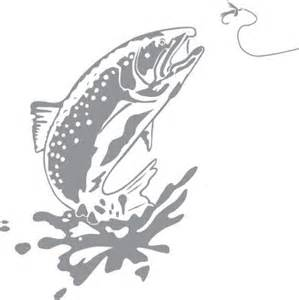 Printable Heat Transfer Vinyl Glass Etching Stencil Of Trout Jumping In Category Fish