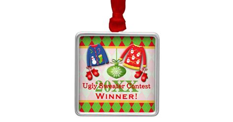 ugly christmas sweater contest winner ornament zazzle