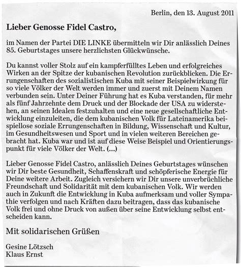 Offizieller Brief Beenden bizarrer brief zum 85 geburtstag so schleimt sich die linke bei fidel castro ein politik