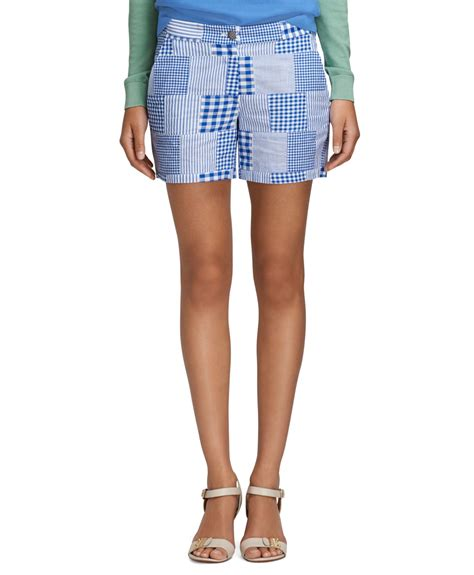 Womens Madras Patchwork Shorts - brothers patchwork madras shorts in blue lyst