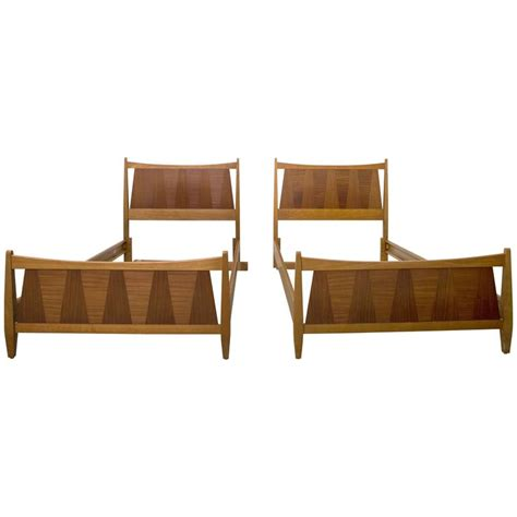 modern twin bed pair of mid century danish modern teak twin beds at 1stdibs