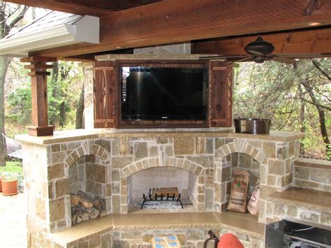 rustic outdoor storage cabinets  doors  fireplace