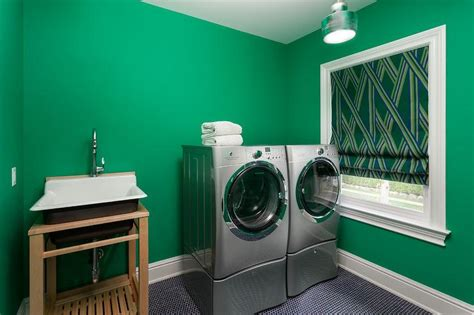 Kelly Green Laundry Room With Black Penny Tile Floor Green Laundry