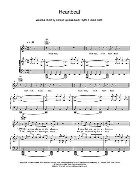 in the house in a heartbeat piano sheet music heartbeat feat nicole scherzinger partituras por enrique iglesias piano voz y guitarra