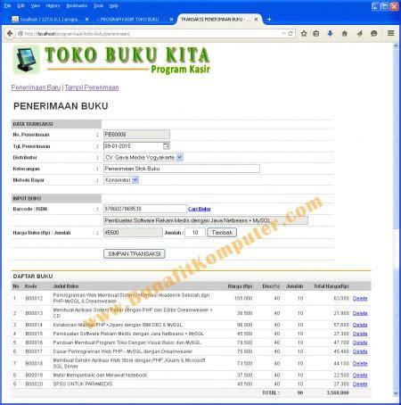 Buku Original Aplikasi Manajemen Database Pendidikan Berbasis Web contoh sistem informasi toko buku bunafit komputer