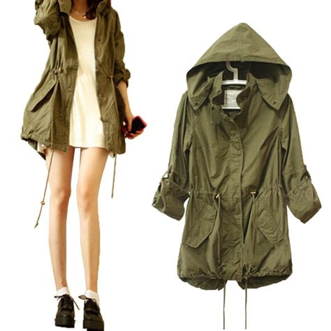 Parka Basic Hoodie autumn army green parka trench hooded coat jacket hoody in basic jackets