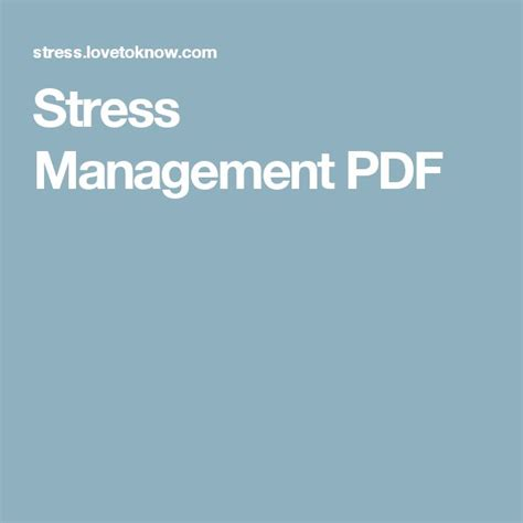 64 Best Images About Management On Stress best 25 stress management pdf ideas on ways