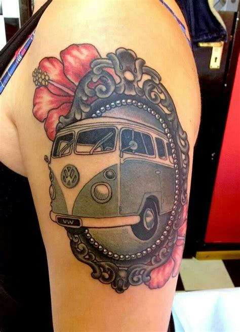 volkswagen bus tattoo framed cer van tattoo vw bus cing tattoos
