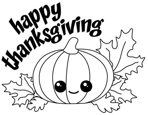 thanksgiving pumpkins coloring pages happy thanksgiving kawaii pumpkin with fall leaves