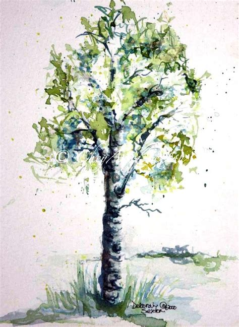 aspen tree tattoo aspen tree watercolor painting giclee print lime green