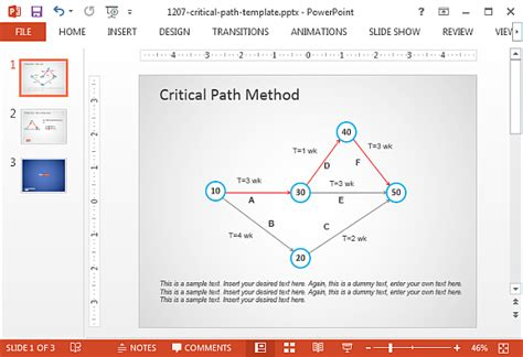 critical path template critical path method in powerpoint