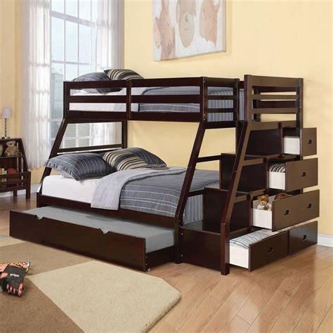 jason twin  full bunk bed storage ladder trundle espresso stairway espresso ebay