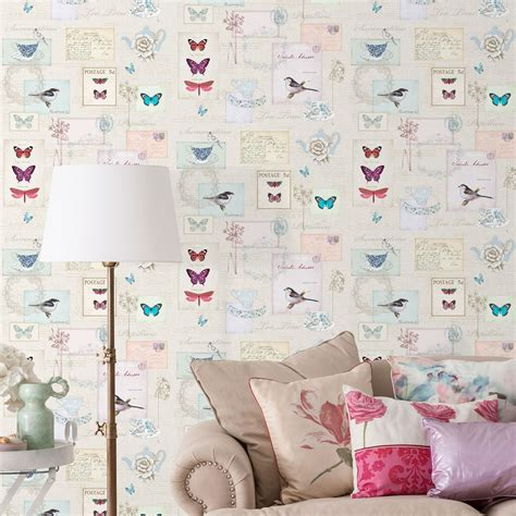 Wallpaper 10m Bunga Shabby shabby chic floral wallpaper in various designs wall decor new