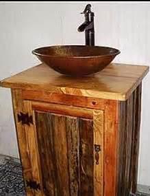 rustic bathroom vanity with copper vessel sink by