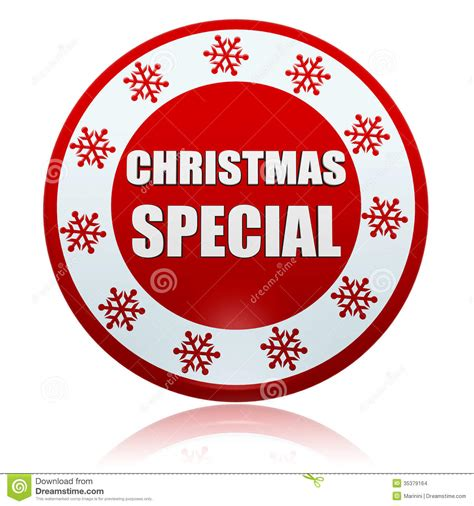 christmas special red circle banner with snowflakes symbol