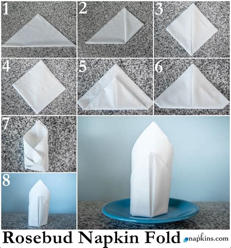 How To Fold Paper Napkins Easy - rosebud napkin fold how to fold a napkin