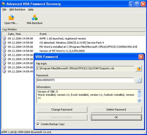 remove password vba code excel advanced vba password recovery v1 60 shareware download