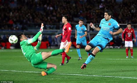 guangzhou evergrande can t compete with barcelona yet barcelona 3 0 guangzhou evergrande luis suarez nets hat