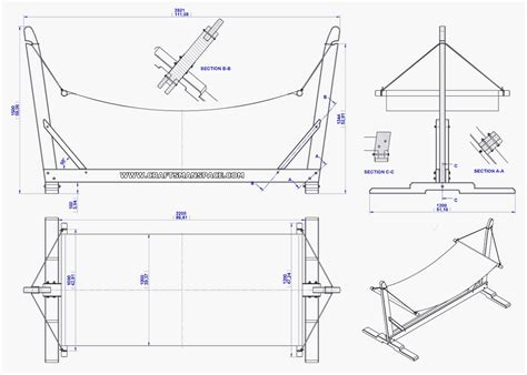 garden hammock  stand plan assembly  drawing