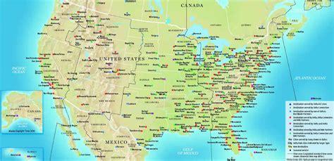 united states flight map us plus grand villes carte