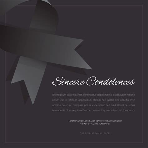 funeral greeting card template for lightroom funeral card with black ribbon editable template
