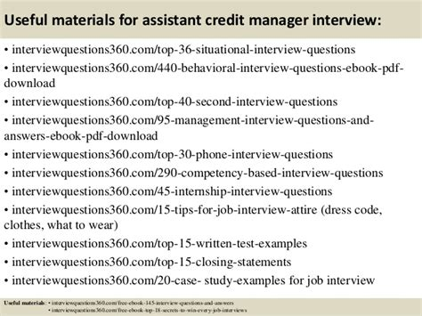 top 10 assistant credit manager questions and