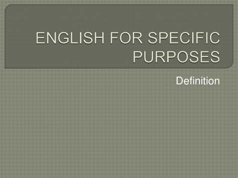 Eanglish For Special Purposes introduction to for specific purposes