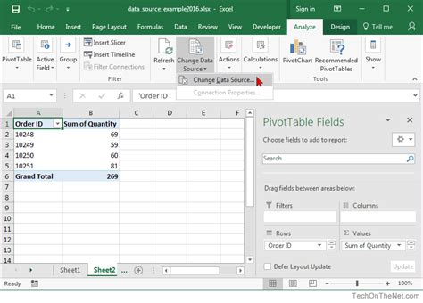 Change Pivot Table Source Data Ms Excel 2016 How To Change Data Source For A Pivot Table