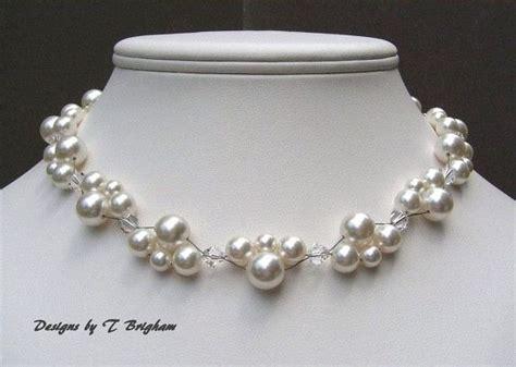 Halskette Perlen Hochzeit by Braut Halskette Swarovski Perlen Und Kristallen Gewebt In