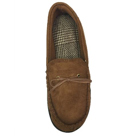 mens sherpa slippers isotoner mens microsuede moccasin style sherpa lined
