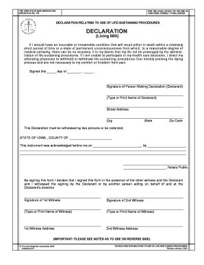 Bill Of Sale Form Iowa Living Will Form Templates Fillable Printable Sles For Pdf Word Iowa Will Template