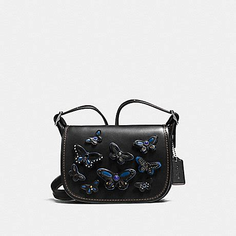 Coach Mini F59810 Black Butterfly coach f59360 saddle bag 18 in leather with all butterfly applique