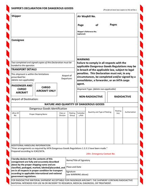 dangerous goods note template word shippers declaration for dangerous goods air cargo how it works