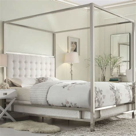 beds with canopy size metal canopy bed with white faux leather
