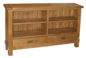 ohio solid oak rustic furniture wide low bookcase