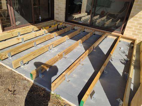 merbau decking  concrete slab bunnings workshop