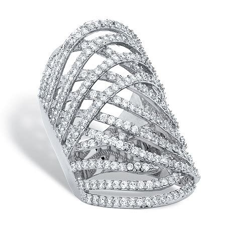 3 58 tcw cubic zirconia platinum plated highway ring