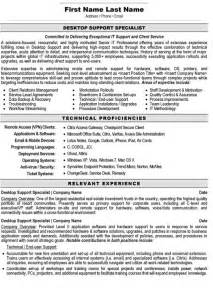 Help Desk Support Specialist Sle Resume by Desktop Support Specialist Resume Sle Template