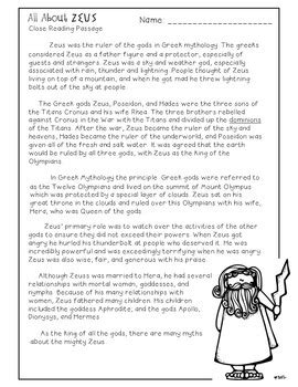 Mythology Worksheets Pdf