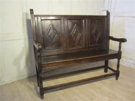 hall bench settle 18th century carved oak settle or hall bench 275802