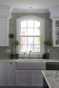 Tiling Backsplash In Kitchen Green Brick Backsplash Tiles Transitional Kitchen