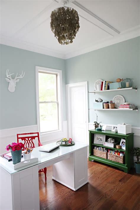 palladian blue  red home office interiors  color