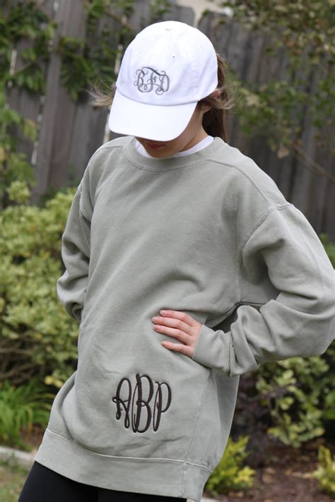 Monogrammed Comfort Colors Sweatshirt by Hip Monogrammed Comfort Colors Sweatshirt Unisex Sizes