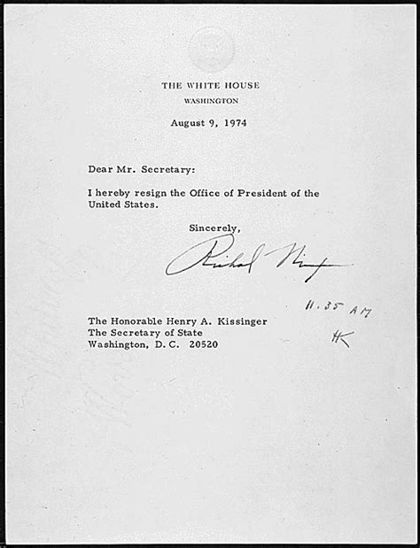 Richard Nixon Resignation Letter by The Watergate Files The Aftermath May 1974 September 1974 Documents