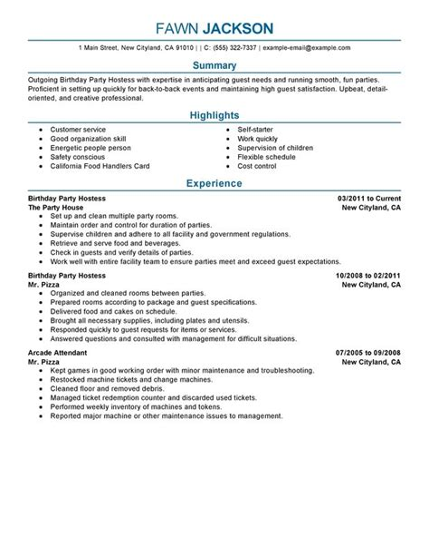 Wedding Hostess Sle Resume by Hostess Resume Best Template Collection