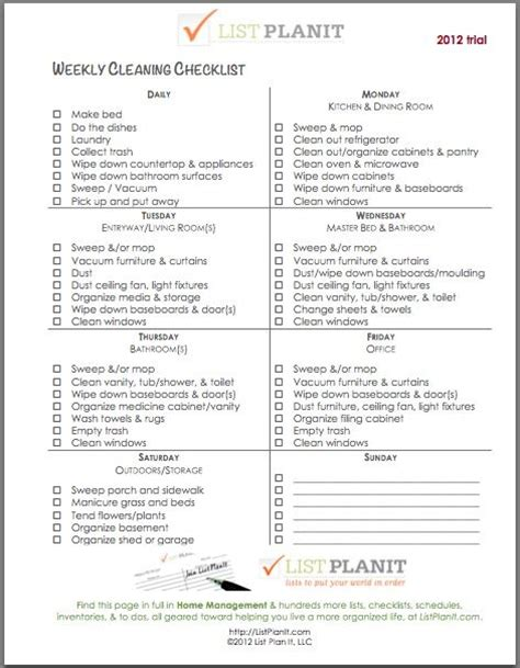Http Cnatrainingclass Co Cna Training Class Weekly Cleaning List Neat And Tidy Cleaning Cna Schedule Template