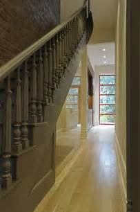 Narrow Staircase Design The Mirrored Wall The Stairwell Helps To Widen The Narrow Hallway Stairways