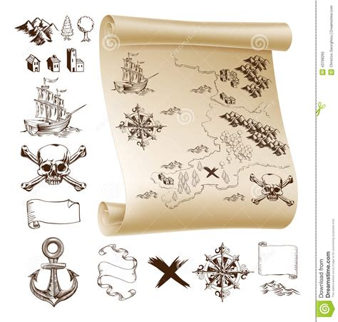 make your own vessel treasure map kit stock vector illustration of marks